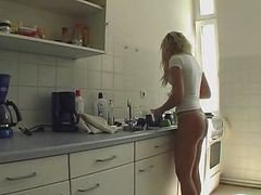 Kitchen, Hot shemale masturbating in kitchen, Xhamster.com