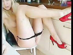 Blonde, Kitchen, Heels, Nikki blond kitchen, Pornhub.com