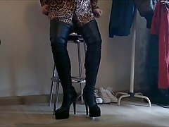 Boots, Crossdresser, Leather, Dress, Licking boots, Xhamster.com