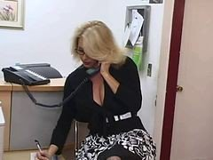 Secretary, Big Tits, Mature, Hot blonde big tits mature and russsian boy, Xhamster.com
